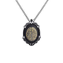 Heavy black paint frame pendant necklace, speed to sell through Ebay