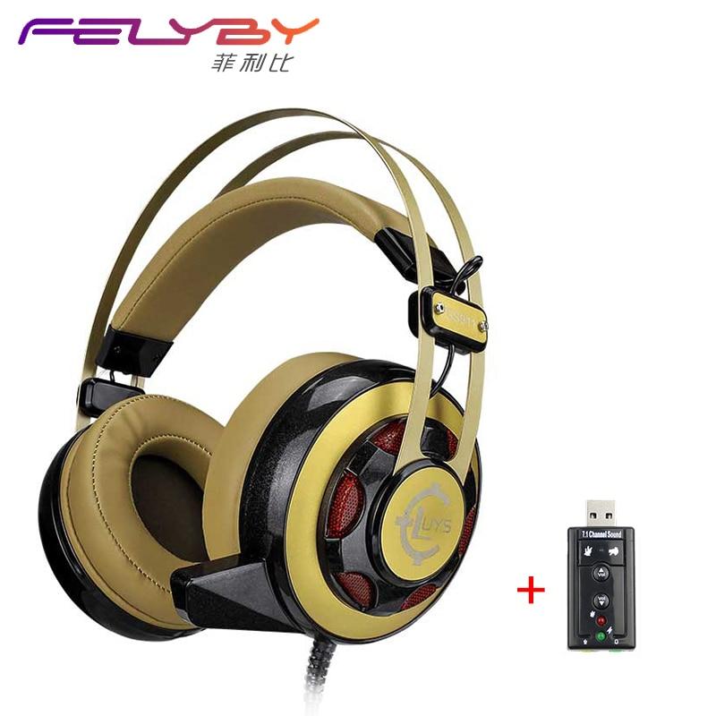 GS911 Cool Earphone Dual 3.5 + USB Luminous Shot Sound Recorder Popular Internet Bass Stereo LOL Professional Game Machine<br>