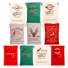2017 New Year 1pcs Creative Santa Claus Deer 6 Styles Drawstring Canvas Santa Sack Rustic Vintage Christmas Gift Bag Decoration(China)