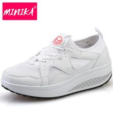Minika Breathable Patchwork Summer Shoes Women's Casual Shoes Fashion Walking Shoes Swing Wedges Women's Vulcanize Shoes Woman