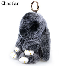 18CM Fluffy Bunny Keychain Real Rex Rabbit Fur Keychain For Women Hand Bag Pendant Car Charm Keyrings Holder Jewelry(China)