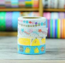 7 pcs/Lot Flower Glitter powder tape 15mm*3m paper masking sticker Miss time 2016 New collection Stationery school supplies 6131