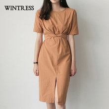 WINTRESS New Solid Skinny Plus Size Dress Clothes Short Sleeve Open Split O-Neck Summer Work Style Knee-Length Women Dress
