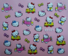 Mix Order: $0.7 XF321 Free Shipping Brand 3D Design Tip Nail Art Hello Kitty Nail Stickers Decals Carving Nail Art Decorations