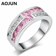 AOJUN Princess Cut Pink Created Finger Ring Lady White Gold Color CZ Paved Wedding Engagement Rings For Women Jewelry