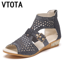VTOTA Women Boots Fashion Ankle Boots For Women Summer Boots 2017 Bota Feminina Casual Women Boots Wedges Women Rome Shoes B66