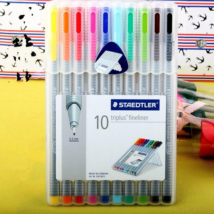 Authentic Germany STAEDTLER 10 colors fiber pen hook line drawing pen special office school supplies 0.3mm<br><br>Aliexpress