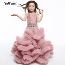 Yewen Cloud little flower girls dresses for weddings first communion dresses for girls kids evening gowns prom dresses 2017(China)