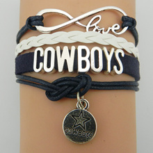 (10 Pieces/Lot) Infinity Love NFL Dallas Cowboys Football Team Bracelet Navy Silver Custom Any Bracelets Offer Drop Shipping