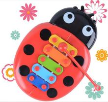 New 5 Tones Hand Knock Piano Baby Kids Play Educational Play Wooden Toy Ladybug Toy