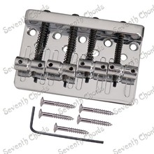 Set Chrome 4 String Saddle Bass Guitar Bridge With black screws spring / Top Load or Strings through body(China)