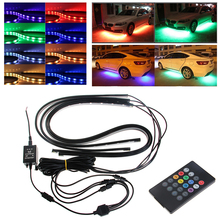 4x Waterproof RGB  SMD Flexible LED Strip Under Car Tube Underglow Underbody System Neon Light Kit With Remote Control DC12V