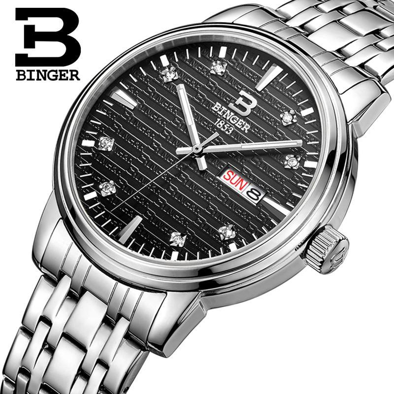 Switzerland mens watch luxury brand Wristwatches BINGER ultrathin Quartz clock full stainless steel glowwatch B3036-4<br>
