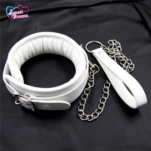 Buy Sweet Dream PU Leather Slave White Neck Collar Pin Buckle Adjustable BDSM Fetish Bondage Adult Game Sex Toys Women DW-415