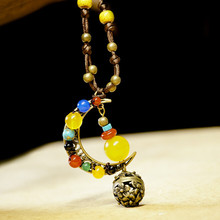 Romantic moon pendant necklace yellow chalcedony beads long sweater chain women necklace ethnic jewelry 0560(China)