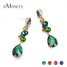 eManco Wholesale Luxury Crystal Drop Dangle Earrings 4 Items for Women Party Style Fashion Jewelry 2018 New Cosmetic Accessories(China)