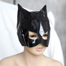 Female Fetish Role Play Patent Leather Mistress Cat Hood Adult Half Face Mask Masquerade Costume
