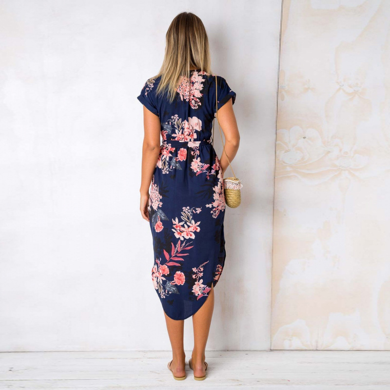 2018 Summer Dress Women Print V Neck Short Sleeve Robe Female Dresses Casual Sashes Midi Dress Ladies Elegant Vestidos Dropship 30