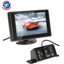 Car HD Video 7LED Auto Parking Monitor 4.3 inch Car Mirror Monitor With Reversing Car Rear View backup Camera Night Vision