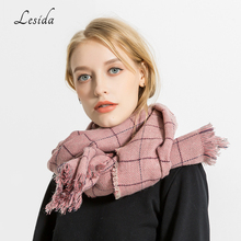 LESIDA Luxury Women Plaid Scarf Cashmere Pashmina Solid Color Tassel Shawls Winter Thick Warm Ponchos And Capes 190*70CM 3436(China)