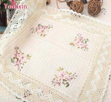 55CM Vintage Square cotton embroidery Table cloth towel tea Kitchen Tablecloth Cover placemat for Garden Christmas wedding decor