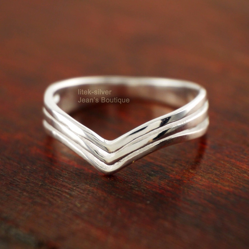 925 Sterling Silver Simple Three Layers Chevron Midi Knuckle Pinkie Ring A3595(China (Mainland))