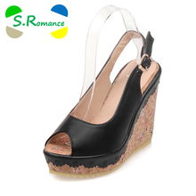 S.Romance Women Sandals Plus Size 32-43 Fashion Gladiator High Wedges Heel Lady Pumps Rubber Woman Shoes Black Beige Pink SS824