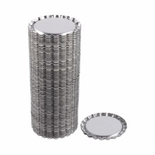 100pcs Flat 1 inch Silver Tinplate Flattened Bottle Caps For DIY Crafts Without Hole Coffee Bar Wall Decor Home Decoration(Hong Kong)