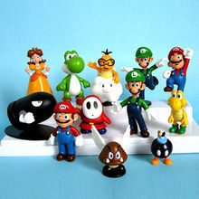 12 pcs New Lovely Lots Nintendo Super Mario Bros Action Figure Toys Gift Kids Action Figure Toys Robot