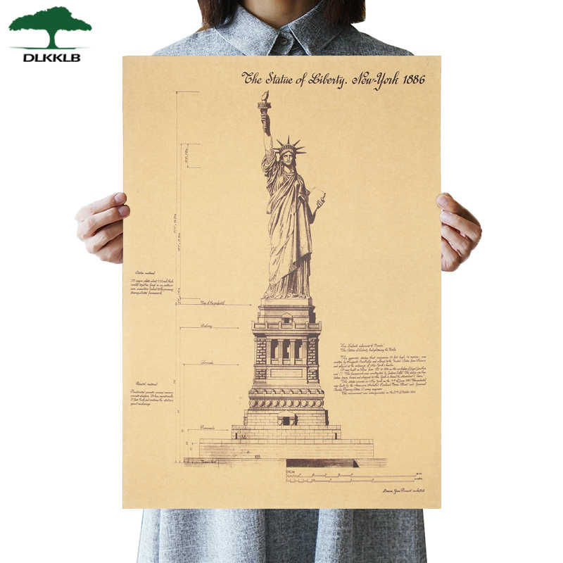 DLKKLB Retro Poster Liberty Goddess Vintage Movie Anime Poster Kraft Paper Bar Cafe Decor Room Decoration Painting Wall Sticker