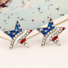 1 Pair American National Flag Ear Stud Patriotic Red Blue Star/Heart Shape Earrings Jewelry