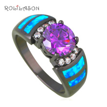 Promotion Lowest Price Charming Rings Blue Fire Opal Black Gold Tone Purple Zirconia Ring USA Sz #7#8#9 Fashion Jewelry OR822