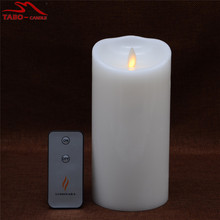 Amber Yellow Light Flickering Moving Wick Flameless LED Candle with Remote Timer for Birthday Xmas Gift In 7 Inch(China)