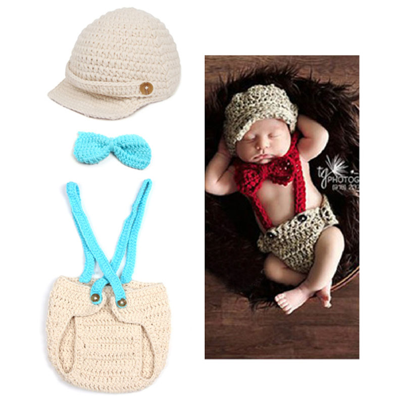 Baby Accessory Photo Props Little Gentleman Toddler Hand Knitted Crochet Costume Matching Tie Hat Diaper Covered Newborn Clothes(China (Mainland))