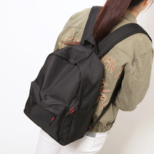 Simple Korean style pure color canvas women backpack college student school book bag leisure backpack