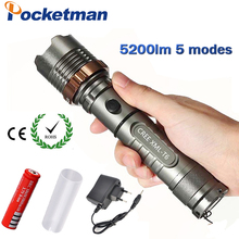 5200lm CREE XM-L T6 5modes LED Tactical Flashlight Torch Waterproof Hunting Flash Light Lantern zaklamp taschenlampe torcia(China)