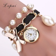 Lvpai Brand Cheap Watches Women Luxury Bow Pearl Bracelet Wristwatch Women Fashion Casual Women Summer Electronics Watch LP623(China)