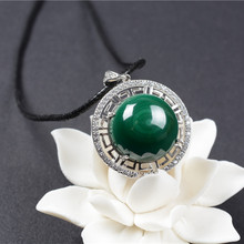 QIANXU Real Malachite Necklace Pendant Lucky Green Jade Pendant Jade Jewelry Fine Jewelry With 925 Silver(China)