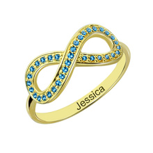 Personalized Birthstone Infinity Accent Ring Gold Color Engraved Name Ring Infinity Love Ring Valentines Gift