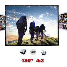 180 inches 4:3 Portable Wall Mounted Matt White Canvas Folding Outdoor Projector Screen for LED LCD HD Movie Projection Display(China)