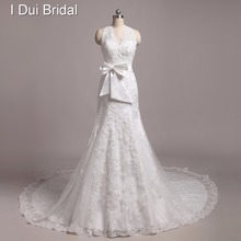 Custom Made High Quality Halter Lace Appliqued Beaded Bow Tie Wedding Dresses Real Image(China)