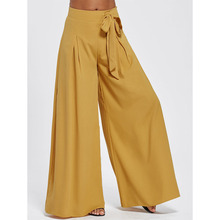 CharMma 2017 New Women Fashion  Elegant Solid Oversize Slim Pant Drawstring High Waist Wide Legged OL Long Culottes Pants