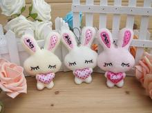 10Pcs 12cm cute plush toys rabbit PP cotton design phone/key charm chain flower bouquets accessory kid toys