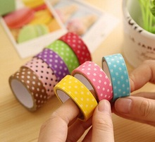 1pcs/lot 3M NEW Simple Dots series Candy color Fabric DIY Multifunction paper Masking Tape seal sticker Adhesive Tape(China)