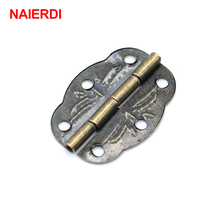 10pcs NAIERDI 30mm x 22mm Bronze Mini Butterfly Door Hinges Cabinet Drawer Jewellery Box Hinge With Screw For Furniture Hardware