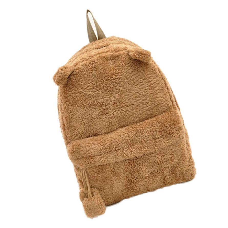 New Arrivals Panda Canvas Backpack Cute Bag Purse Animal Soft Ears Pom Poms Furry Zippers Bag Dec14<br><br>Aliexpress