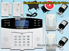 Wireless GSM Home Alarm System Russian and English Spanish French voice SMS GSM alarm system Free shipping