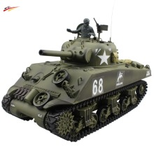 RC Tank 2.4G 1/16 US M4A3 Sherman Tank Howitzer AirSoft RC Battle Tank with BB+Smoking+Sounding Effect Electronic Tank Model Toy