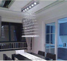 3/5/6 Heads Modern Crystal LED Ceiling Lights Fixture Rain Drop Curtain Lustre Hanging Square Ceiling Lamp Lustres De Teto