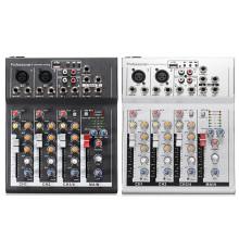 Black White 4 Channel Professional Live Mixing Studio Audio Sound Console 48V USB Mixer Console Network Anchor Sound Card(China)
